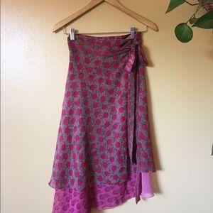 Reversible Wrap Skirt Pink Polka Dot Indian Layer